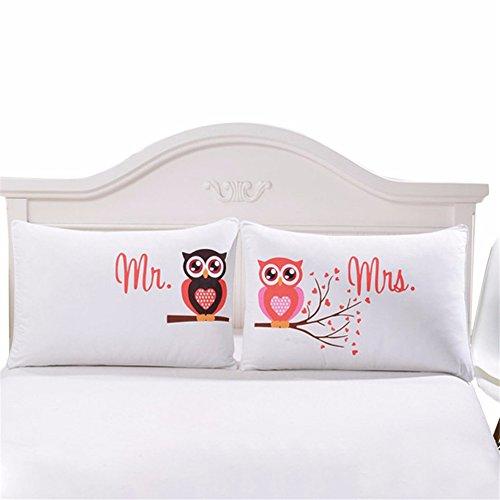 CHIPYHOME Pareja de Fundas Almohadas cojin Blancas Mr & Mrs buhos Elegante diseño Dormitorio, Regalo Recien Casados, Caravana hoteles Casas Rurales Loft de 50 x 75 cm