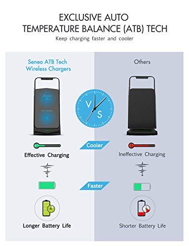 Seneo Qi - Cargador inalámbrico de 10 W para Galaxy S10, S9, Note9, Note 8, 7,5 W