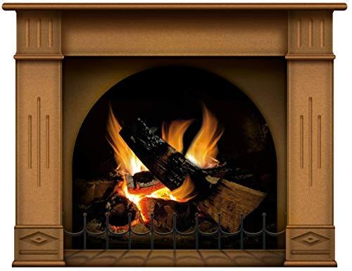 lepni.me Wandaufkleber Kamin mit brennendem Feuer Wandtattoo Dekoration Brennholz Flammen fotorealistische Kunst Poster (Mittel Braun)