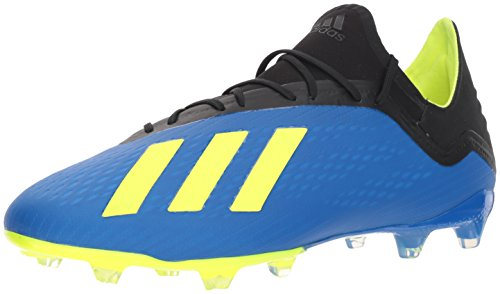 adidas Men's X 18.2 Firm Ground Soccer Shoe, Football Blue/Solar Yellow/Black, 10.5 M US