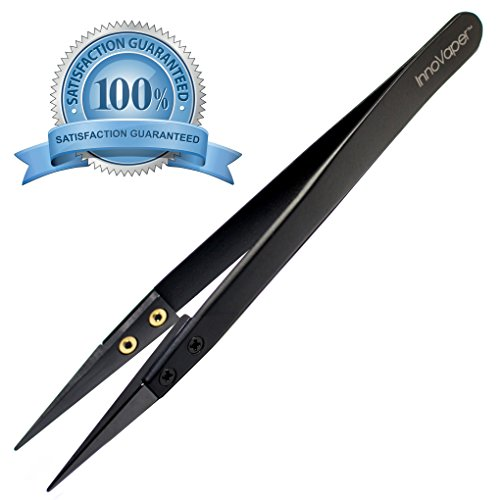 Authentic InnoVaper Precision Black Ceramic Tweezers - Non-Conductive and Heat Resistant to High Temperatures for Pinching Coils While Firing - NO MORE BROKEN TIPS!