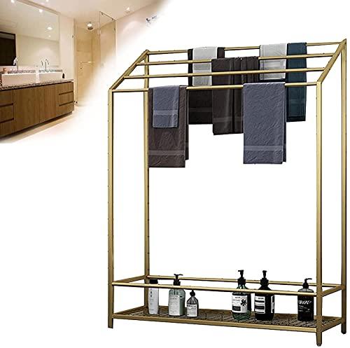 Toallero Barra de toalla de pie con estante, soporte independiente para baño de 4 niveles, soporte de escalera de toalla de acero inoxidable, resistente, resistente y resistente a la oxidación, blan