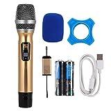 ASHATA Micrófono inalámbrico, modulación de frecuencia Digital UHF 500~980MHz Micrófono inalámbrico Universal para TV por computadora, micrófono de Mano para Noches de Karaoke y Fiestas