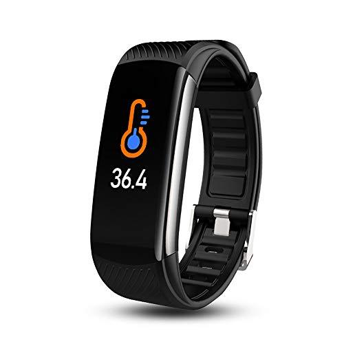 Smart Watch Reloj Inteligente Impermeable Pulsera con Termómetro Pulsómetro Monitor de Sueñ Pantalla Táctil Completa Reloj Fitness para Android iOS,Negro