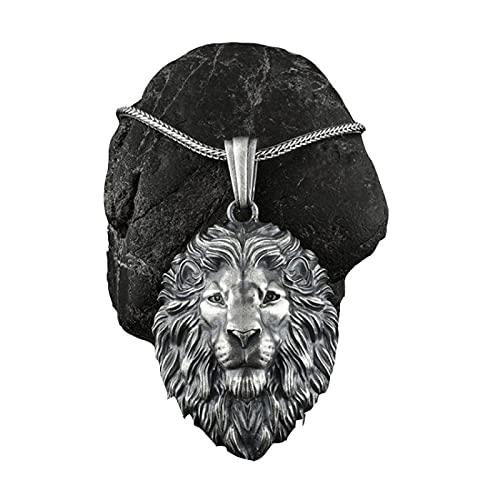 PINKPEGASUS Collar de hombre retro león colgante collar hip hop punk personalizado hombres y mujeres joyería Navidad cumpleaños regalo negro