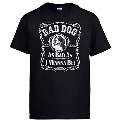 Diver Bebé Camiseta Frase Perro Raza Boyero de Berna Bad Dog as Bad as I Wanna be - Negro, S