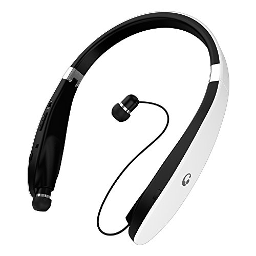 EGRD [Newest Design] Wireless Bluetooth 4.1 Headset, Retractable and Foldable Neckband Style Headphones - White