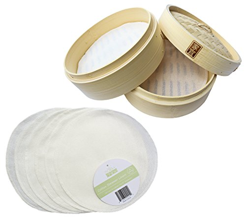 Zoie + Chloe 100% Cotton Reusable Liners for Bamboo Steamers - 6 Pack