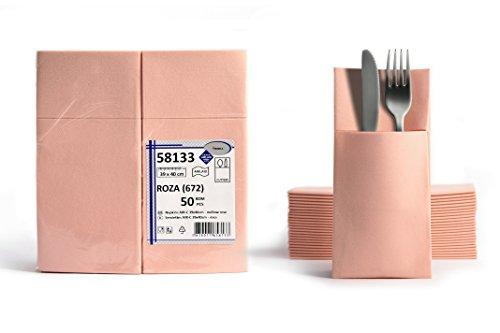 50 Airlaid Besteckservietten fertig gefaltete Servietten mit Schlitz 40x40 cm Stoffähnlich 1/8 Falz Premium Qualität Bestecktasche Hochwertig Stoffoptik Rosa Baby Pink
