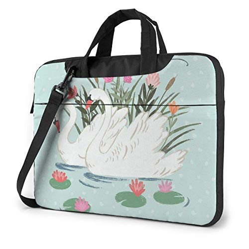 Laptop Shoulder Bag Carrying Laptop Case 14 Inch, Swan Lotus Computer Sleeve Cover with Handle, Business Briefcase Protective Bag for Ultrabook, MacBook, Asus, Samsung, Sony, Notebook