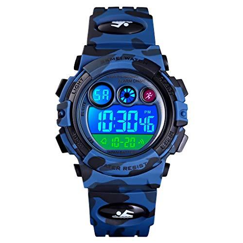 Reloj infantil digital deportivo para niños, multifunción, impermeable, cronógrafo, exterior, reloj con luz LED, alarma, para regalo para niños de 6 a 12 años