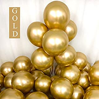 Chrome Gold Balloons 12inch 50pcs Latex Balloons Metallic Party Balloons Birthday Helium Balloons