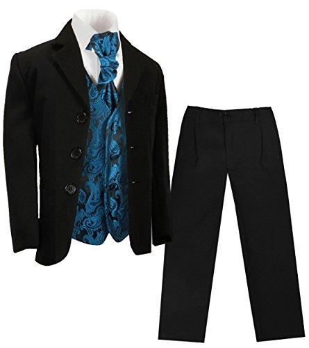 Paul Malone - Konfirmazionsanzug Kinderanzug Jungen (Slim Fit) schwarz + Petrol Paisley Hochzeit Weste + Plastron 164-170 (16 Jahre)