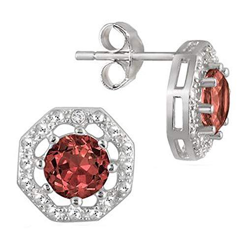 SLV Pendientes octágonos de diamante de corte redondo TW de 2 quilates en plata chapada en oro blanco de 14 K 925