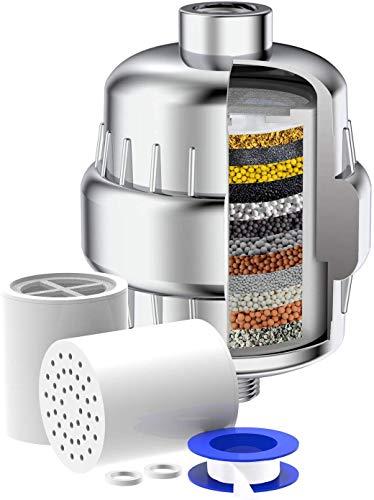 15-Schichten Duschfilter,mit Extra-Ersatz Filter Kartusche&Teflonband, entfernen Chlor,Schwermetalle,Wasser erweichen.Passt auf Jeden Duschkopf.