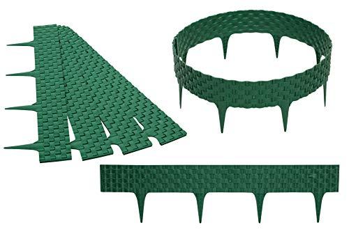 GARDENIX 3,2m Rattan Beeteinfassung Beetumrandung Rasenkante Gartenpalisade Beetzaun (Grün)