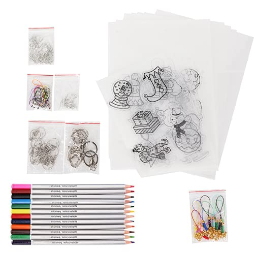 CUEA Papel de película retráctil, Kit de Hoja de plástico termocontraíble termorretráctil de Color para Manualidades, para niños y Estudiantes