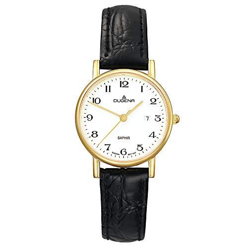 DUGENA Damen-Armbanduhr 2171016 Zenit, Quarz, weißes Zifferblatt, Edelstahlgehäuse, Saphirglas, Lederarmband, Dornschließe, 3 bar