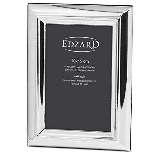 EDZARD Fotorahmen Florenz für Foto 10 x 15 cm, edel versilbert, anlaufgeschützt, mit 2 Aufhängern