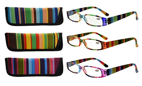 Eyekepper 4 Pairs Reading Glasses for Women Reading Striped Pattern Stylish Reading Eyeglasses