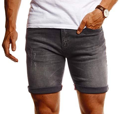 Leif Nelson Herren Shorts Jeans Stretch Kurze Hose für Sommer Slim Fit Basic Kurze Jeanshose für Männer Denim Jungen weiße Freizeithose Chino Cargo Bermuda LN1397 Grau W33