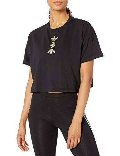 adidas Originals Women's Large Logo T-Shirt, Black/Gold MET, S