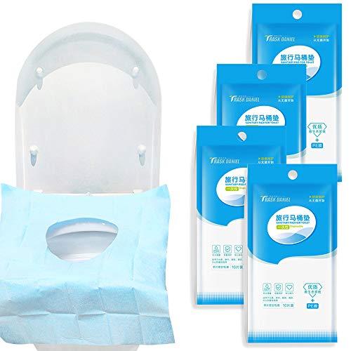 40 pcs Protector WC Desechable Impermeable Papel para Asiento de Inodoro Fundas de Papel para Viaje Baño Hotel (40pcs Azul)