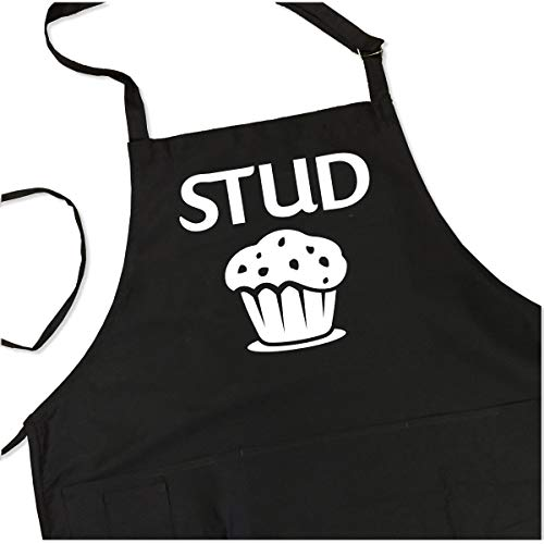 ApronMen - Stud Muffin - Funny BBQ Apron for Dads - 1 Size Fits All Chef Quality Cotton 4 Utility Pockets, Adjustable Neck and Extra Long Waist Ties - Black Color