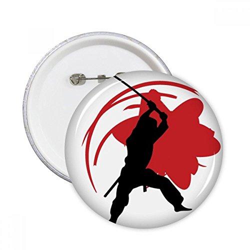 DIYthinker Botón Japón Bushido Samurai Sakura Silueta Asia pernos redondos Placa Ropa Decoración 5Pcs regalo XXL Multicolor