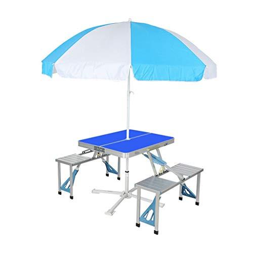 Aluminium Klapp Camping Tisch Outdoor tragbare Picknick Koffer Tisch Set W/Bench 4 Sitz mit Regenschirm und Regenschirm Sitz (Color : Blue)