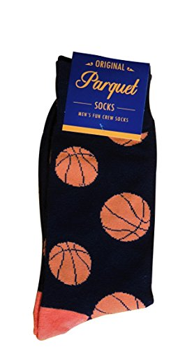 Parquet Mens Fun Crew Socks, Sock Size 1013 Shoe Size 612.5, Great HolidayBirthday Gift, Large , Basketball Black