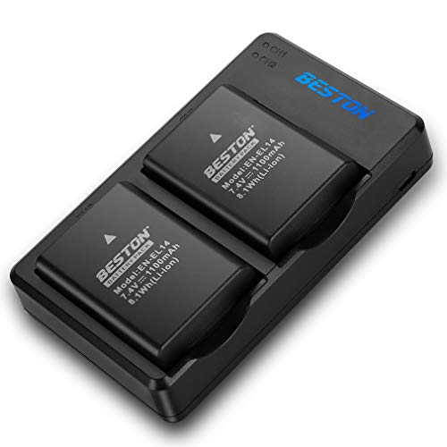 BESTON 2-Pack EN-EL14 / EN-EL14a Battery Packs and USB Fast Charger for Nikon D3100 D3200 D3300 D3400 D3500 D5100 D5200 D5300 D5500 D5600 DF Coolpix P7000 P7100 P7700 P7800 Cameras
