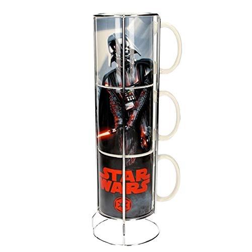 SD Toys SDTSDT89790 Lot de 3 Tasses empilables en céramique Motif Star Wars Dark Vader et Stormtroopers