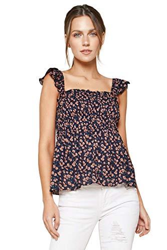 Sugar Lips Damen Sparkling Berry Floral Print Smocked Top Hemd, Blau/Mehrfarbig,...