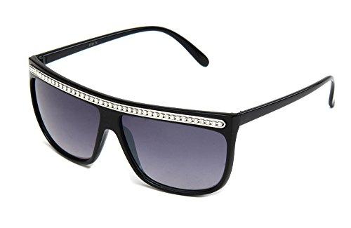 Newbee Fashion - Women Retro Fashion Square Flat Top Sunglasses with Rhinestones