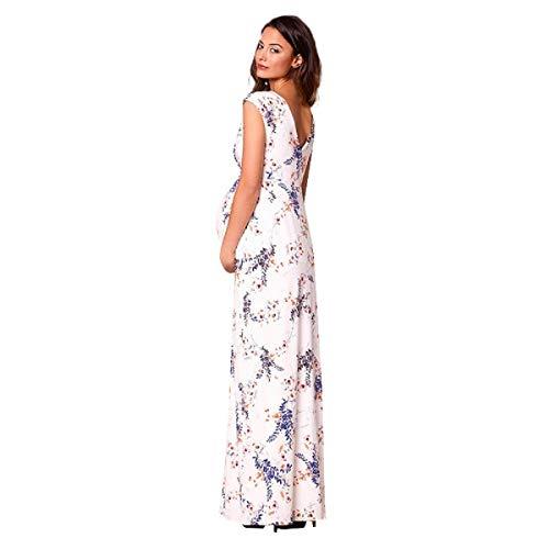 BIBOKAOKE Damen V-Ausschnitt Kleider für Schwangere Mode Böhmischer Druck Strandkleider lang Sommerkleider elegant Partykleid Umstandsmode Rock, Weiß, M