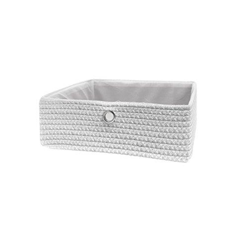 FRANDIS 181110 Paniers de Rangement Blanc Matière : PP + térylène à l'intérieur, poignée en INOX Dim Produit : 32 x 30 x 12,5 cm