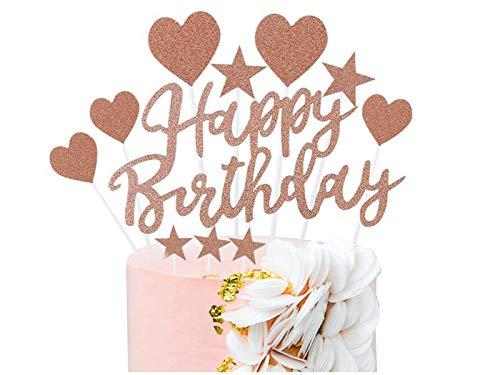 Decoración para Tarta de Oro Rosa, Topper Feliz Cumpleaños, Corazones Estrellas Cake...