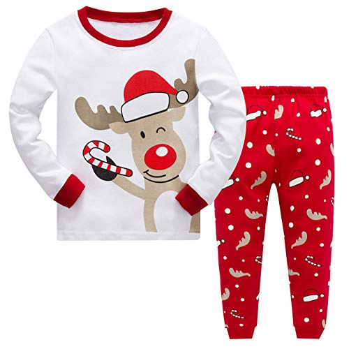 Baby Girls Christmas Pyjamas Set Kids Reindeer Costume Winter Long Sleeve Pjs Nightwear Sleepwear for Toddler Boys Childrens (White Deer, 5-6 Years)