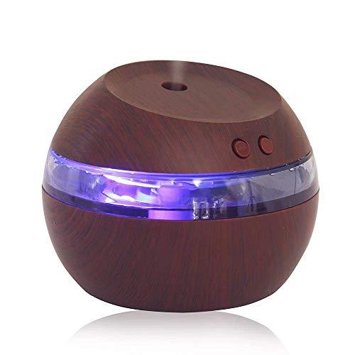 290ml aroma difusor ultrasónico Humidificador Oil aromas Humidifier con luz azul Mini Madera USB humidificador para habitación/oficina/Yoga/spa/Auto/Casa