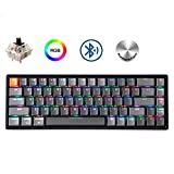 Keychron K6 68-Key Wireless Bluetooth/USB Wired Gaming Mechanical Keyboard, Compact 65% Layout RGB LED Backlit N-Key Rollover Aluminum Frame for Mac Windows, Gateron Brown Switch