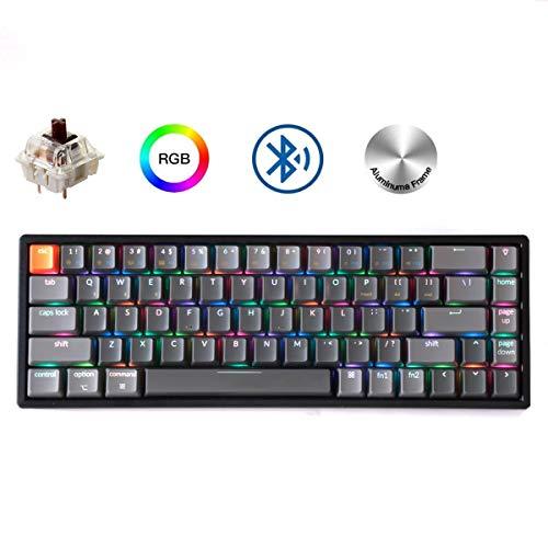 Keychron K6 68-Key Wireless Bluetooth/USB Wired Gaming Mechanical Keyboard, Compact 65% Layout RGB LED Backlit N-Key Rollover Aluminum Frame for Mac Windows, Gateron Brown Switch