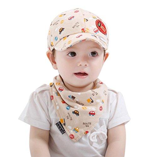 Trada Baby-Anzug, 2PCS Baby Kleinkind Jungen und Mädchen Cartoon Hut + Infant Pinafore Bib Set Outfit Baby Car Print Cap Baseball Cap Dreieck Lätzchen Zweiteiler Lätzchen Speichel Handtuch (Beige)