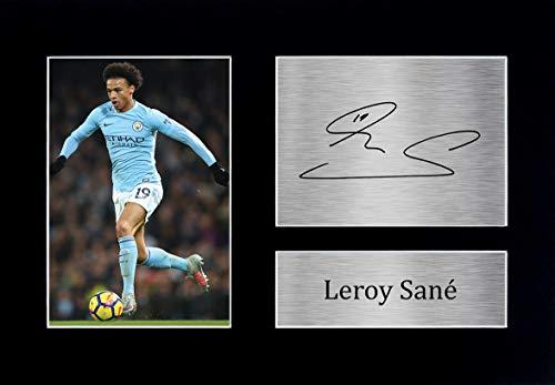 HWC Trading Leroy Sane A4 Ungerahmt Signiert Gedruckt Autogramme Bild Druck-Fotoanzeige Geschenk Für Manchester City Fußball Fans