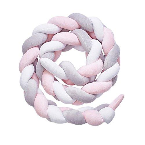 Tour de lit coussin Serpent Coussin Tressé pare-chocs Velours Protection bébé sécurité 100% Fait à Main Doux et Souple (200cm) (Gris + rose)