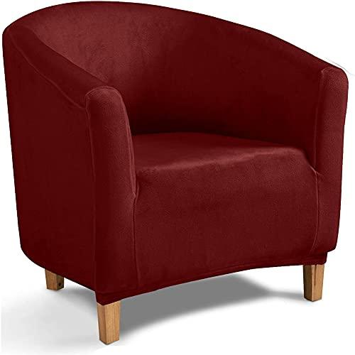 Funda para Sofá Club Chair, Fundas De Silla De Bañera De Terciopelo Elástico Cubiertas Elegantes Fundas Blandas para Sillón Protector De Muebles (Vino Tinto)