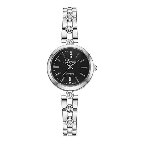 GJHBFUK Reloj De Moda Casual Rhinestones De Cuarzo Reloj De Pulsera De Aleación (Plata + Esfera Negra)