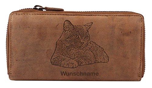 Grosse Damen-Geldbörse mit Katze von Greenburry I Leder Geldbeutel Katzenmotiv l Wunschname 19x2,5x10cm Damenbörse
