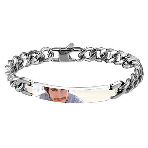 JewelryWe Schmuck Armband mit persönlicher FOTOGRAVUR | Bild & Text Wunsch-Gravur, Edelstahl Armkette Silber Link Panzerkette Panzerarmbänder 21.2CM