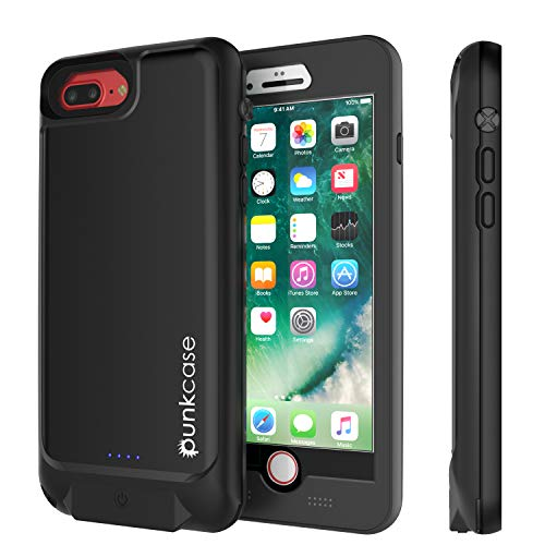 PunkJuice Waterproof Battery Case [IP68 Certified] Charger Cover W/Built-in Screen Protector [Ultra Slim] Fast Charging 4800mAh Power Juice Bank Compatible W/Apple iPhone 8 Plus & 7 Plus [Black]